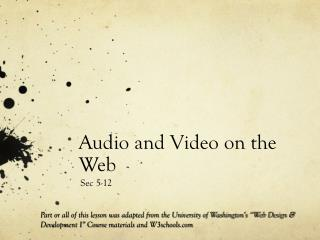 Audio and Video on the Web
