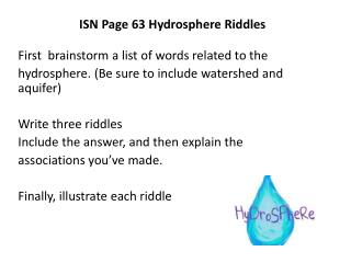 ISN Page 63 Hydrosphere Riddles