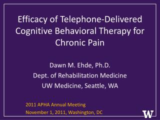 Efficacy of Telephone-Delivered Cognitive Behavioral Therapy for Chronic Pain