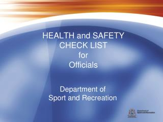 Department of  Sport and Recreation