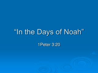 """In the Days of Noah"""