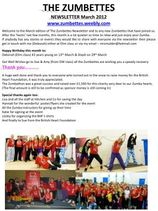 THE ZUMBETTES NEWSLETTER  March  2012 www.zumbettes.weebly.com