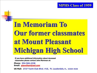In Memoriam. MPHS Class of 1959 Deceased Classmates.