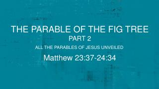 the parable of the fig tree part 2