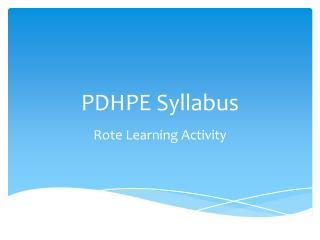 PDHPE Syllabus