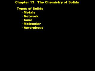 Chapter 13   The Chemistry of Solids