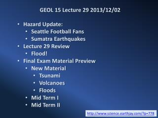 GEOL 15 Lecture 29 2013/12/02