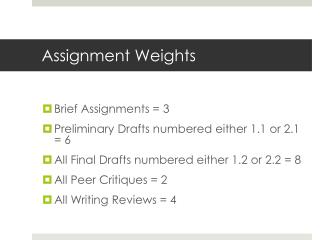 Assignment Weights