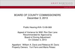 BOARD OF COUNTY COMMISSIONERS December 3, 2013