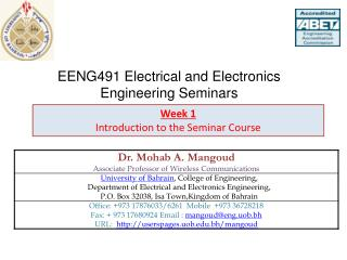 EENG491 Electrical and Electronics Engineering Seminars