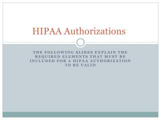 HIPAA Authorizations