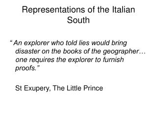 Representations of the Italian South