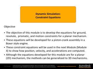 Dynamic Simulation : Constraint Equations