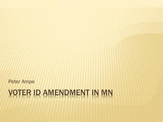 Voter ID Amendment In MN
