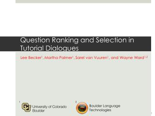 Question Ranking and Selection in Tutorial Dialogues