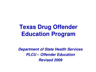 Texas Drug Offender Education Program