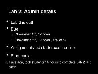 Lab 2: Admin details