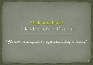 Welcome Back! Glendale School District