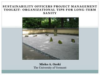 Sustainability Officers Project Management Toolkit- Organizational Tips for Long-Term Sanity