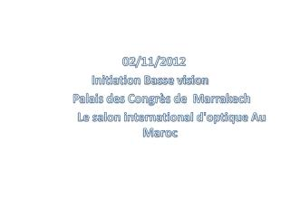 02/11/2012                    Initiation  Basse vision