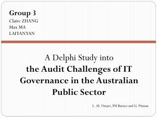 A Delphi Study into  the Audit Challenges of IT Governance in the Australian Public Sector