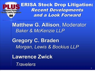 ERISA Stock Drop Litigation:  Recent Developments  and a Look Forward