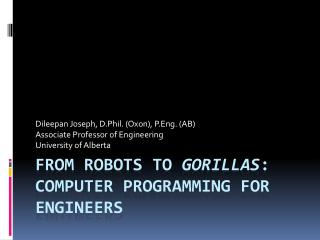 From Robots to  Gorillas : Computer Programming for Engineers
