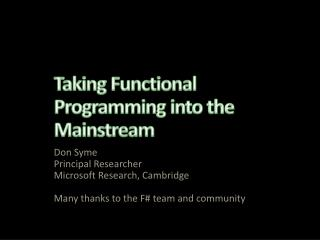 Taking Functional Programming into the Mainstream