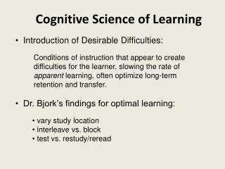 Cognitive Science of Learning