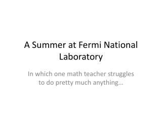 A Summer at Fermi National Laboratory