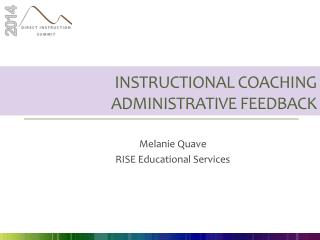Instructional Coaching Administrative feedback