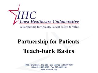 Partnership for Patients Teach-back Basics