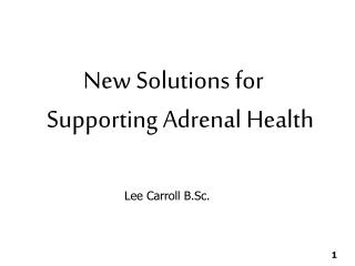 New Solutions for Supporting Adrenal Health