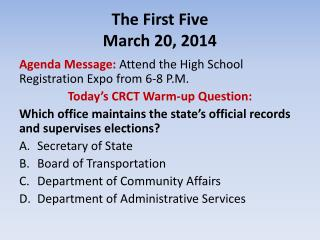 The First Five March 20, 2014