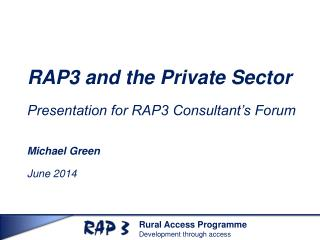 RAP3 and the Private Sector