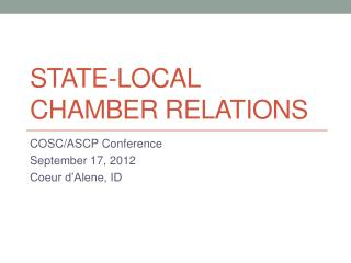 State-Local Chamber Relations