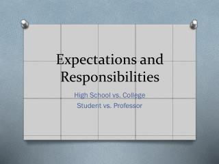 Expectations and  Responsibilities