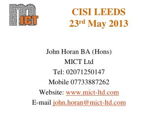 CISI LEEDS 23 rd  May 2013