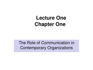 Lecture One Chapter One