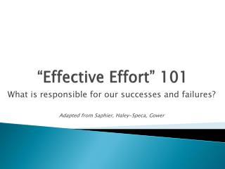 """""""Effective Effort"""" 101"""