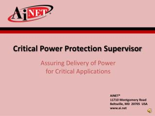 Critical Power Protection Supervisor
