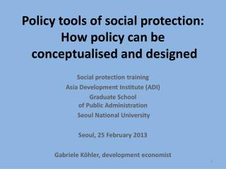 Policy  tools  of  social protection:  How  policy can be  conceptualised  and designed