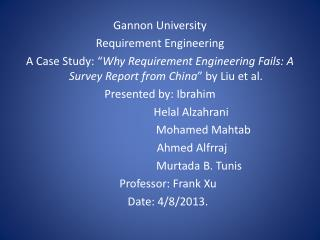 Gannon University Requirement Engineering