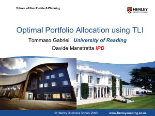 Optimal Portfolio  A llocation  using TLI