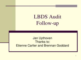 LBDS Audit Follow-up
