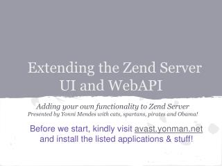 Extending the Zend Server UI and WebAPI