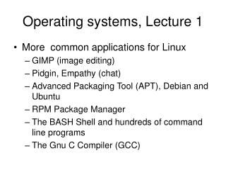 Operating systems, Lecture 1