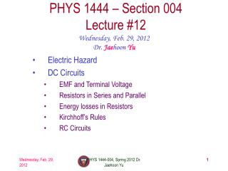 PHYS 1444 – Section  004 Lecture  #12