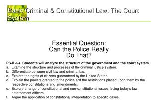 Basic Criminal & Constitutional Law: The Court System