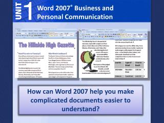 Word 2007 ®  Business and Personal Communication